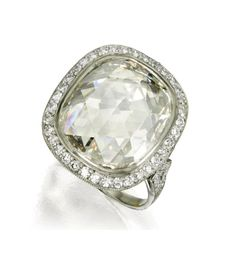 Cushion shape, ROSE-Cut diamond, would love this without the halo and in about the 3 carat size range, much rarer cut and I love both cushion and rose so this is clean and divine!
