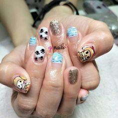 This Japanese-inspired nail art is the cutest! Kawaii Nail Art, Cute Nail Art, Cute Nails, Gem Nails, Shellac Nails, Painted Acrylic Nails, Nailart, Japanese, Inspired