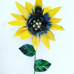 Amazing Sunflower Garden Stakes With Shimmers Of Silver And Blue In Each  Center.