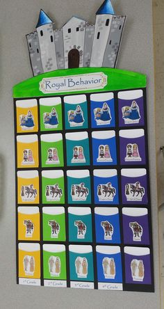 "Castle Classroom Management. I used those envelopes for library books. Each color is a grade. There are 5 steps to the top: Peasants, Squires, Knight/Dames, Prince/Princesses, Kings/Queens. I plan on taking pics of students, laminating them and gluing them to wooden sticks. They will all be placed in the ""Peasant"" pocket. Each class they will have the opportunity to move up the scale, Once they reach Kings/Queens they will get to go to treasure box."