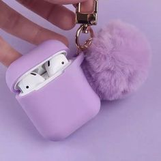 Purple Fur Airpods Case Cover Skin - Phone case for girls Lavender Aesthetic, Purple Aesthetic, Cute Ipod Cases, Iphone Cases, Fone Apple, Cute Headphones, Accessoires Iphone, Airpod Case, Iphone Accessories