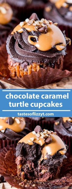 Chocolate Caramel Turtle Cupcakes have creamy caramel, chocolate chips and pecans on the inside and are topped with chocolate buttercream. They have an unbeatable fudgy, brownie-like flavor and texture. via @tastesoflizzyt