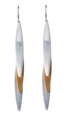 Mixed Metal Triple Elliptical Drop Earrings