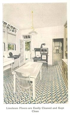 Kitchen from a 1921 Linoleum catalog. Not my favorite pattern but I'm thinking Lino on my kitchen floor. Green and gray, offset diamonds.