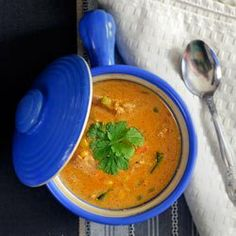 Printable version If I'm going to use chicken in a soup I always use thighs. The dark meat seems to be richer and more flavorful, mak. Southwest Chicken, Cream Of Chicken Soup, Daily Meals, Yummy Appetizers, Justin Gilbert, Low Carb Recipes, A Food, Curry, Daily Recipe