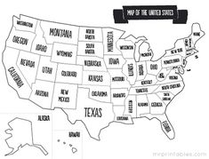 Printable Map of the USA | Mr Printables Lots of versions of printable maps-- color, B, etc