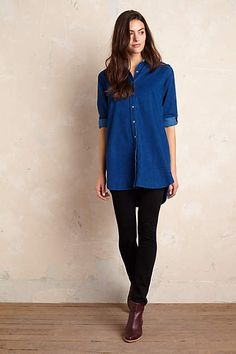 Anthropologie EU MiH Longline Cord Shirt by MiH. Loved for their leggy, silhouette-slimming jeans, iconic denim brand MiH turns their attention to clothing for a new take on effortless style. Created to wear everywhere, with everything, we're layering this lightweight fine pin corduroy shirt over denim cut-offs or tucked into skinnies for easy elegance.