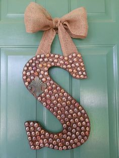 239 best Wooden Letter Ideas   images on Pinterest   Decorated     My newest front door decor creation  I love it    Wooden letter glass