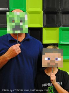 "Photo booth prop for kids Minecraft birthday party. Diy print image from google search & glue to a skewer. Create memorable pictures. Photo 13 of 25: Minecraft Birthday Party / Birthday ""Minecraft Birthday Party"" 