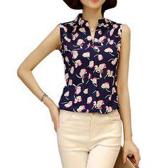 Fashion Summer Women Ladies Sleeveless V Neck Chiffon Blouse Flower Printed Blouses White Striped Office Shirts Female Z2
