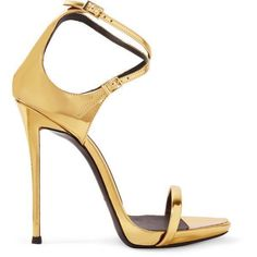 Giuseppe Zanotti Metallic leather sandals ($310) ❤ liked on Polyvore featuring shoes, sandals, heels, gold, black leather sandals, high heeled footwear, metallic heeled sandals, strap heel sandals and black strappy sandals