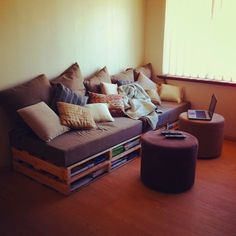 Pallet couch: can be made in different sizes, storage room underneath, (might be) cheaper than buying a couch