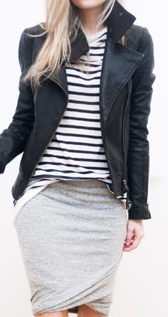 Mid skirt, t shirt, leather jacket - with combats or with stealth heels