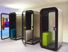 Three professional phone booths - so you will not hear a thi.- Three professional phone booths – so you will not hear a thing! Three professional phone booths – so you will not hear a thing! Modern Office Design, Office Interior Design, Home Office Decor, Office Designs, Office Furniture, Mini Office, Open Office, Office Spaces, Corporate Interiors