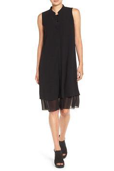 Image of Eileen Fisher Mandarin Collar Silk Georgette Shirt Dress