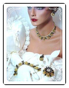 Hematite Juliana Parure -  Vintage Gold Tone Filigree Domed Rhinestone   Para-409a-122908145