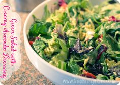Green Salad with Creamy Avocado and #BeauMonde Dressing. Courtesy of The Pinning Mama.
