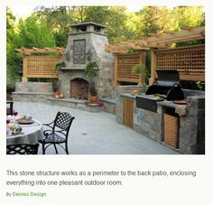 patio with fireplace and built in BBQ for outdoor dining