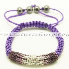 Clay Shamballa Bracelet, dark purple/clear/purple clay tube rhinestone beads