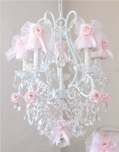 A Feminine Sweet Chandelier With  Tulle  Bow Shades Pink  5 Light-vintage, victorian, shabby, romance, lighting, chandelier, crystals, glass beads, crystal chains, sparkling, glamour, romantic home,