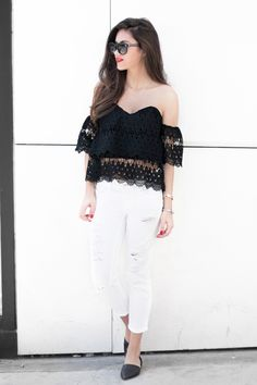 lace off shoulder top with white jeans