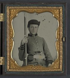 Private Peter Lauck Kurtz of Company A, 5th Virginia Infantry Regiment, in uniform with musket and revolver