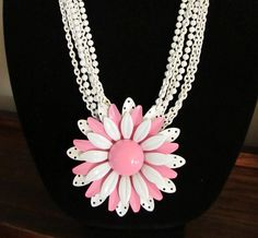 Handmade Necklace Multi Strand Pink and White Vintage Enamel Flower | wingsofflutter - Jewelry on ArtFire