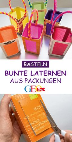 Bastelanleitung: Bunte Laternen basteln How to make colorful lanterns out of packaging is shown by GEOlino in this handicraft guide! Diy Crafts To Do, Upcycled Crafts, Fall Crafts, Paper Crafts, Bento Bag, Lantern Crafts, Lantern Diy, Paper Lanterns, Kids And Parenting