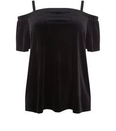 Curves Black Velvet Bardot Top   New Look