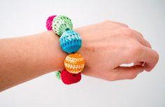 Crochet braceletRed fuchsia green turquoise by Simplyacircle, $13.00
