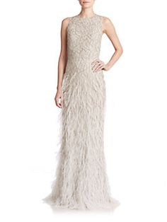 Alice + Olivia - Vaughn Beaded & Feathered Gown