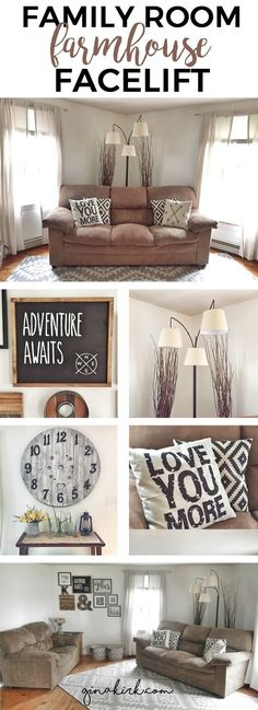 Fixer upper style/design inspired DIY farmhouse family room/space facelift! Loved adding more charm to our home with decor, paint and furniture. Simple reno idea and rustic modern gallery wall from GinaKirk.com