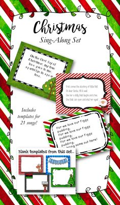 Christmas Singalong Set: Includes templates for 21 songs, as well as templates to add your own songs to! Also includes an editable program for your event!