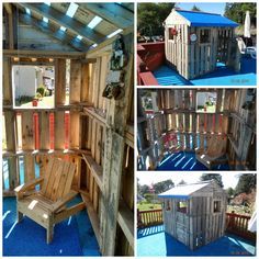 25 Ideas to Recycle Pallets in Kids Pallet Playhouses, Huts or Cabins - sheds-huts-treehouses, garden-pallet-projects-ideas Playhouse Furniture, Pallet Playhouse, Pallet Shed, Build A Playhouse, Playhouse Outdoor, Pallet House, Pallets Garden, Pallet Furniture, Pipe Furniture
