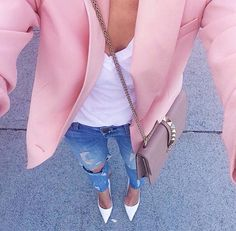 blush blazer + white tee + denim + white heels...ahh this outfit is goals! i have always loved the pops of colors in blazers