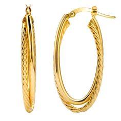 14k Italian Yellow Gold Fancy Double...