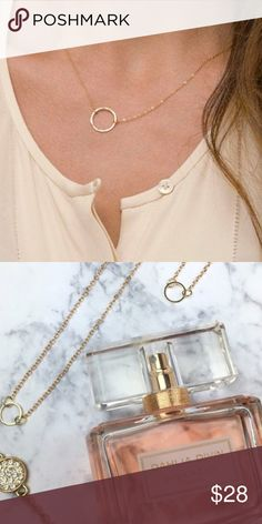 14k gold simple circle necklace Made of 14k gold plated metal alloy Wila Jewelry Necklaces