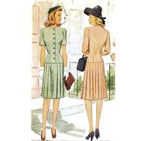 Dress with Pleated Skirt Pattern McCall 5179 Sz 14 Pleated Skirt Pattern, Pleated Midi Skirt, Dress Skirt, 1940s Dresses, Day Dresses, 1940s Fashion, Vintage Fashion, Military Cut, Big Shoulders