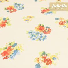jubelis® Wachstuchtischbelag mit Geweberücken Gilles gelb mit bunten Blüten