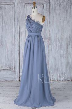 b2ba90ca8cc Bridesmaid Dress Steel Blue Long Chiffon Dress Wedding Dress Splice Neck  Lace Maxi Dress One Shoulder Draped Back Prom Dress (H502A)