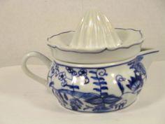 Vintage Juicer Reamer, 2 Piece White Ceramic, Cobalt Blue Flowers