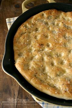 One-hour Skillet Focaccia ~ Ingredients- for the dough: 3/4 c warm water, 1/2 tsp granulated sugar, 1 1/2 tsp yeast, 2 Tbsp olive or canola oil,  2 c all-purpose flour ( divided), 1/2 tsp salt.  For the parmesan butter brush: 3 Tbsp unsalted or salted butter melted,   1 Tbsp grated parmesan, 1/2 tsp Italian seasoning (CrunchyCreamySweet.com)