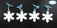 "snowflake Christmas tree ornaments | Meet the Dubiens - so simple!  Could even add glitter or ""snow"" to make them sparkle."