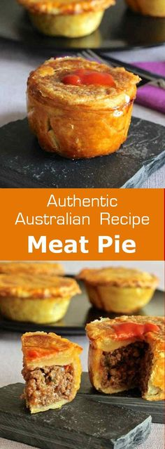 pie, one of the most emblematic dishes of Australia, is a pie stuffed with beef traditionally served in individual portions.Meat pie, one of the most emblematic dishes of Australia, is a pie stuffed with beef traditionally served in individual portions. Australian Meat Pie, Aussie Food, Australian Recipes, Aussie Pie, Quiches, Meat Recipes, Cooking Recipes, Curry Recipes, Recipies