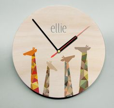 Personalised Wooden Clock / Personalized Clock / Unique Clock / Geometric Giraffes / Nursery Clock / Kids Clock