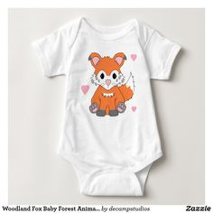 Woodland Fox Baby Forest Animal Boy Girl Neutral Baby Bodysuit