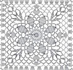 Transcendent Crochet a Solid Granny Square Ideas. Inconceivable Crochet a Solid Granny Square Ideas. Crochet Skirt Pattern, Crochet Doily Diagram, Crochet Motif Patterns, Crochet Blocks, Crochet Chart, Filet Crochet, Crochet Doilies, Crochet Flowers, Motifs Granny Square