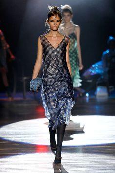 SS12 - Josephine: Navy Gingham Dress;    Gingham Organza 'Do Rag;  Blue Fringe Suzie;   Mirror Pump
