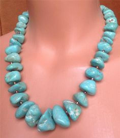 GENUINE TURQUOISE NUGGET NECKLACE. GRADUATED. EARTHY, NATURAL. MADE IN THE USA