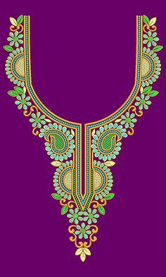 New Neck Embroidery Design 18382 Indian Embroidery Designs, Beaded Embroidery, Salwar Neck Designs, Blouse Designs, Katan Saree, Hand Painted Dress, Pendants, Creative, Pikachu